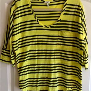 Splendid top yellow w/ black stripes short sleeve
